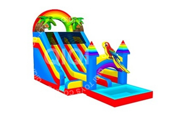 rainbow inflatable double water slide with pool